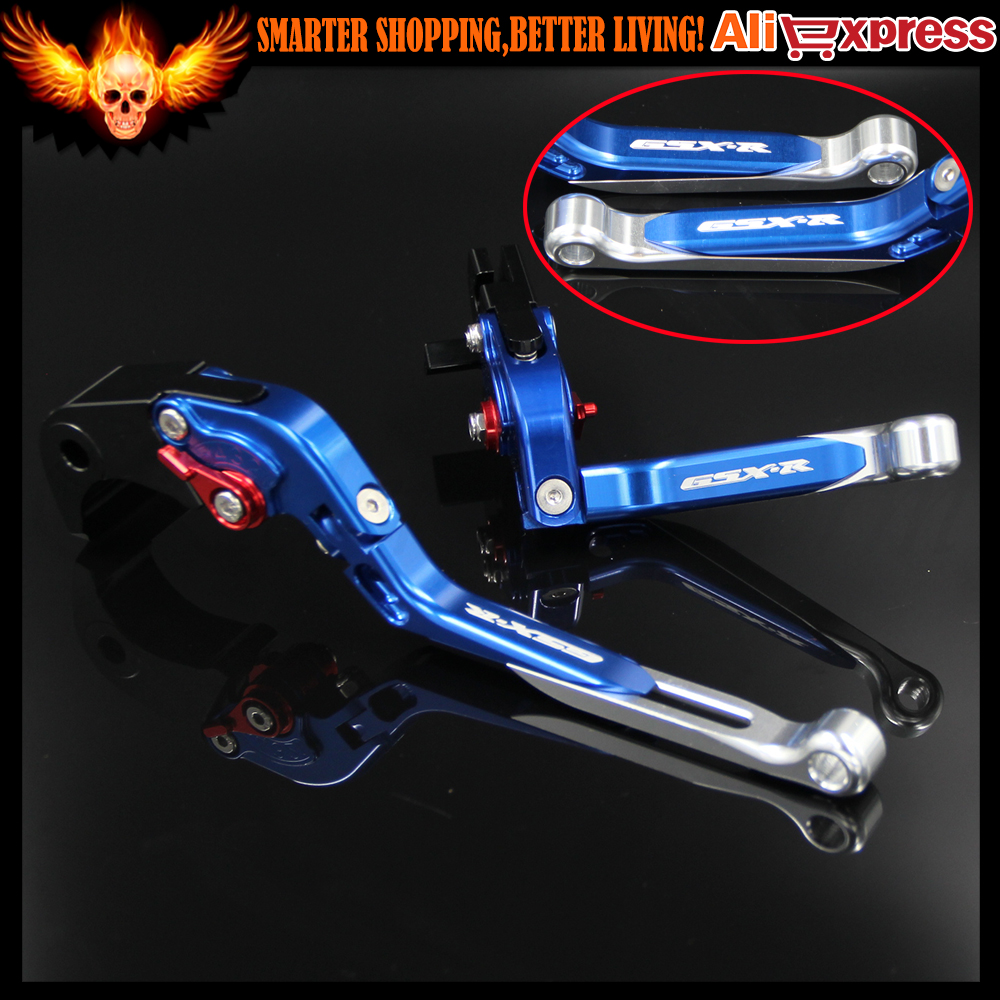 With Logo GSX-R Blue&Silver Adjustable Folding Extendable CNC Motorcycle Brakes Clutch Levers For SUZUKI GSXR 600/750 2004-2005 new cnc adjustable blue