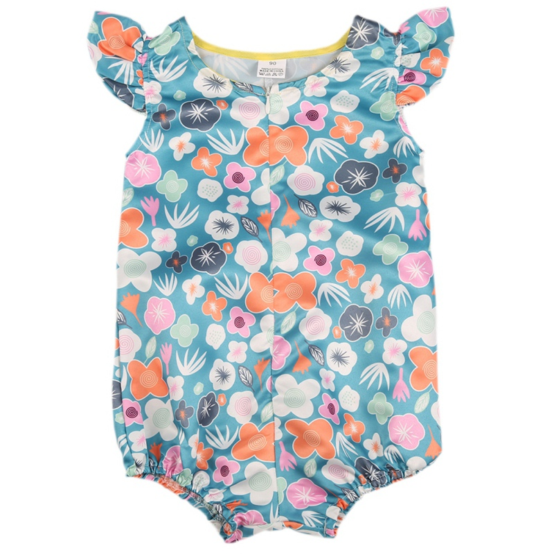 2018 nice flowers baby girls summer flower romper sunsuit cotton clothing new arrive hot sale baby girls romper M9