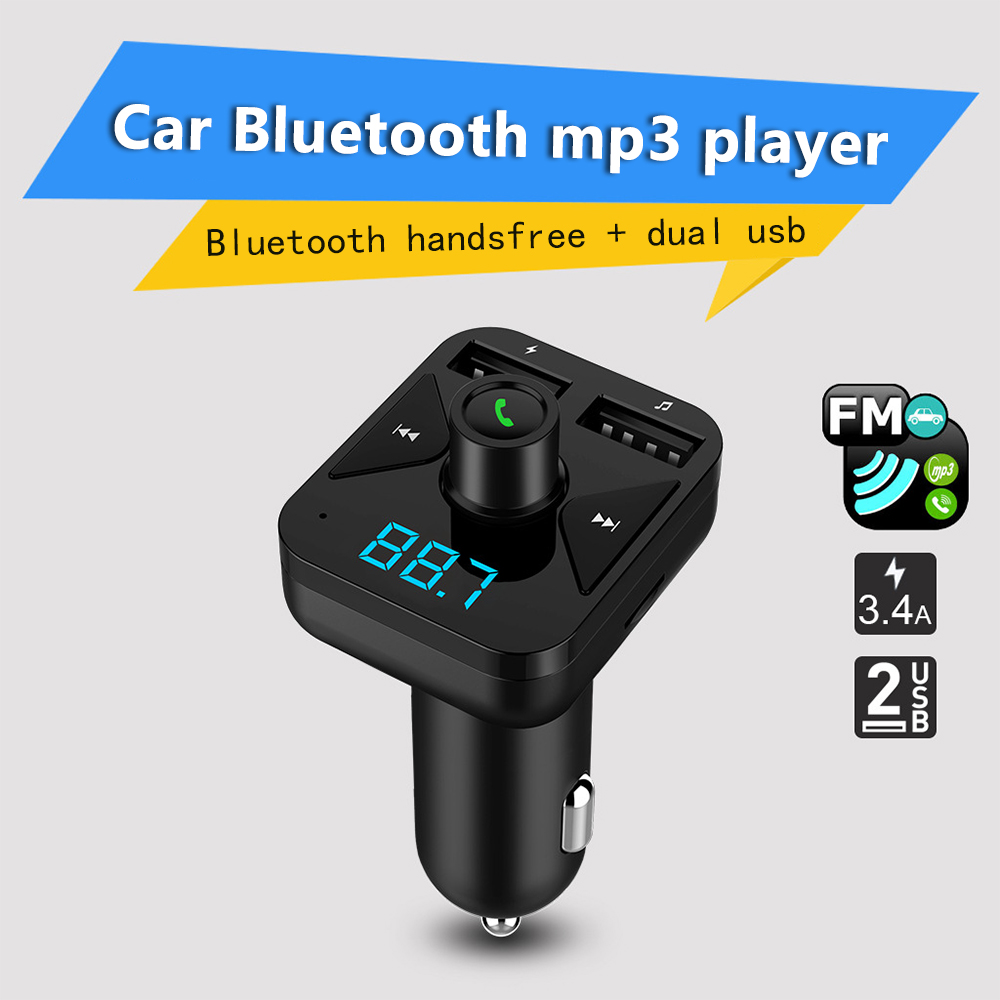 New Car Charger Digital Display Car Bluetooth Adapter and QC3.0 Car Fast Charge