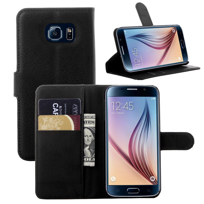 Flip Cover Wallet Case for <font><b>Samsung</b></font> Galaxy S6 <font><b>G920</b></font> G9200 <font><b>SM</b></font>-G920F Luxury PU Leather Case for <font><b>Samsung</b></font> S6 Capa Stand with Card Slot image