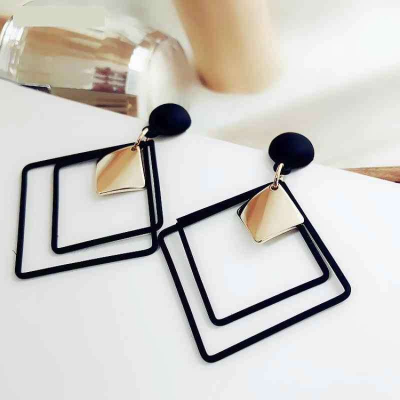 Best selling simple wild long geometry temperament earrings sweet square earrings hollow pendant sequins female earrings jewelry
