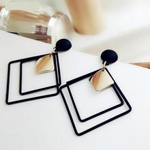 Women's Fashion Jewelry Geometric Square Drop Earrings Simple Joker Long Style Sweet Hollow Sequins Earring Jewelry-in Drop Earrings from Jewelry & Accessories on AliExpress