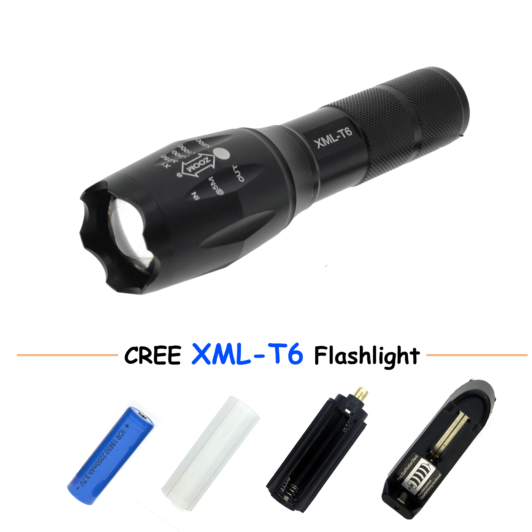 LED Flashlight 18650 zoom torch waterproof flashlights XM-L T6 3800LM 5 mode led Zoomable light with battery and charger
