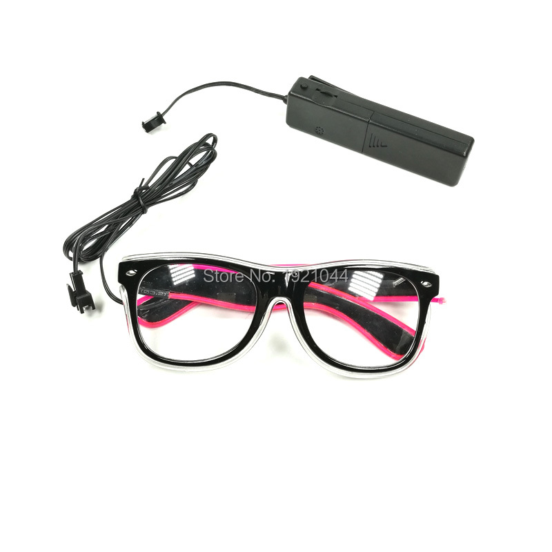 DC-3V Sound activated Controller New Design Double Color EL wire Glowing Glasses Make up party glow glasses Supplies