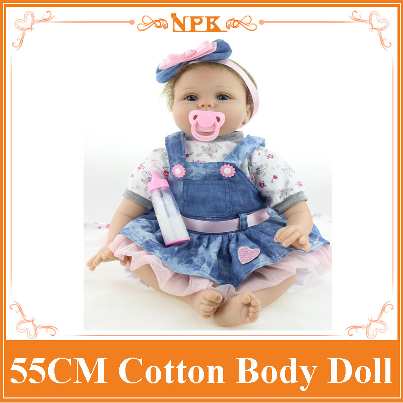 NPK Brand 22 Inch Lifelike Bebe Reborn Baby Dolls Realistic Silicone Real Touch Newborn Babies Toy As Kids Birthday Xmas Gift can sit and lie 22 inch reborn baby doll realistic lifelike silicone newborn babies with pink dress kids birthday christmas gift