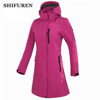 Womens Water Resistant Sport Softshell Long Jackets Hiking Climbing Skiing Outdoor Jacket Winter Camping Trekking Fishing Coat