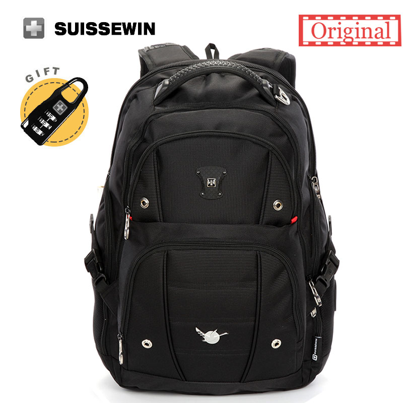 Swiss Men Backpack Gear Quality 15,6 Laptop Backpack sac a dos Large Capacity Waterproof Bagpack Black mochila masculina 2016 new quality waterproof oxford swissgear backpack men 15 inch laptop bag sac a dos men backpacks swiss travel backpack lock
