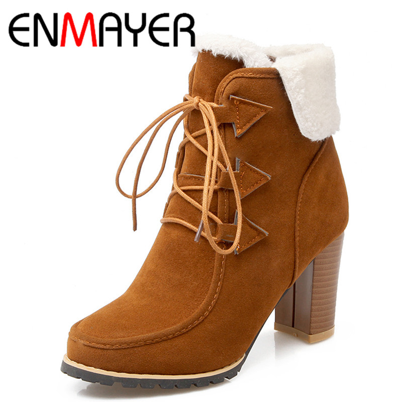 ENMAYER Lace Up High Heels Round Toe Ankle Boots For Women Winter Boots Fashion Light Tan