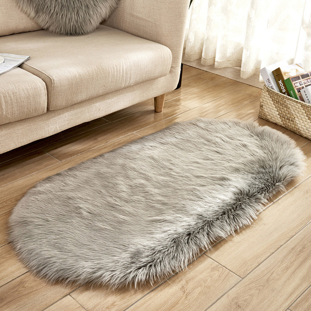 Oval Fur Faux Artificial Sheepskin Washable Carpet / Rug