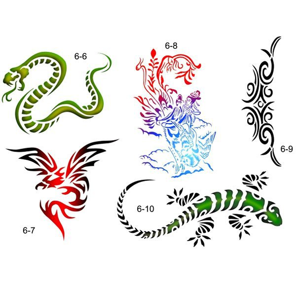 temporary airbrush tattoo stencil template booklet 6 of the animals