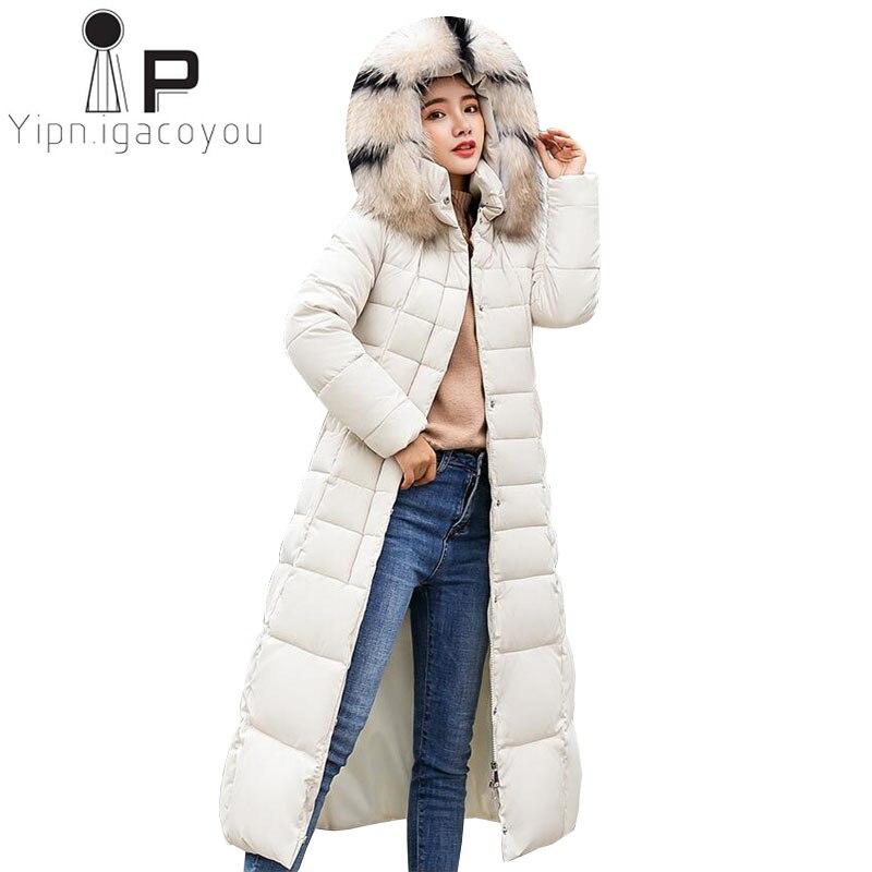 Fashion Long   Parkas   Women Big Fur Collar Hooded Black Coat Plus size Korean Down Jacket Women Warm Elegant Red Outerwear Coats
