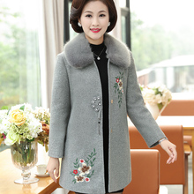 Wool Coat Middle Aged Women New Autumn Winter  Thicken Warm Cotton-padded Vintage Floral Embroidery Jacket Plus Size