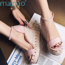 MAZIAO Women Sandals Summer 2018 Platform Sandals High Heels Shoes Ankle Strap Ladies Sandals Rivet Casual Footwear Pink Black