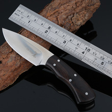 Black Ebony Wood Fixed Hunting Knife Full-Tang Survival Knives Fixed Blade Camping Tactical Knife Full Length 14 CM