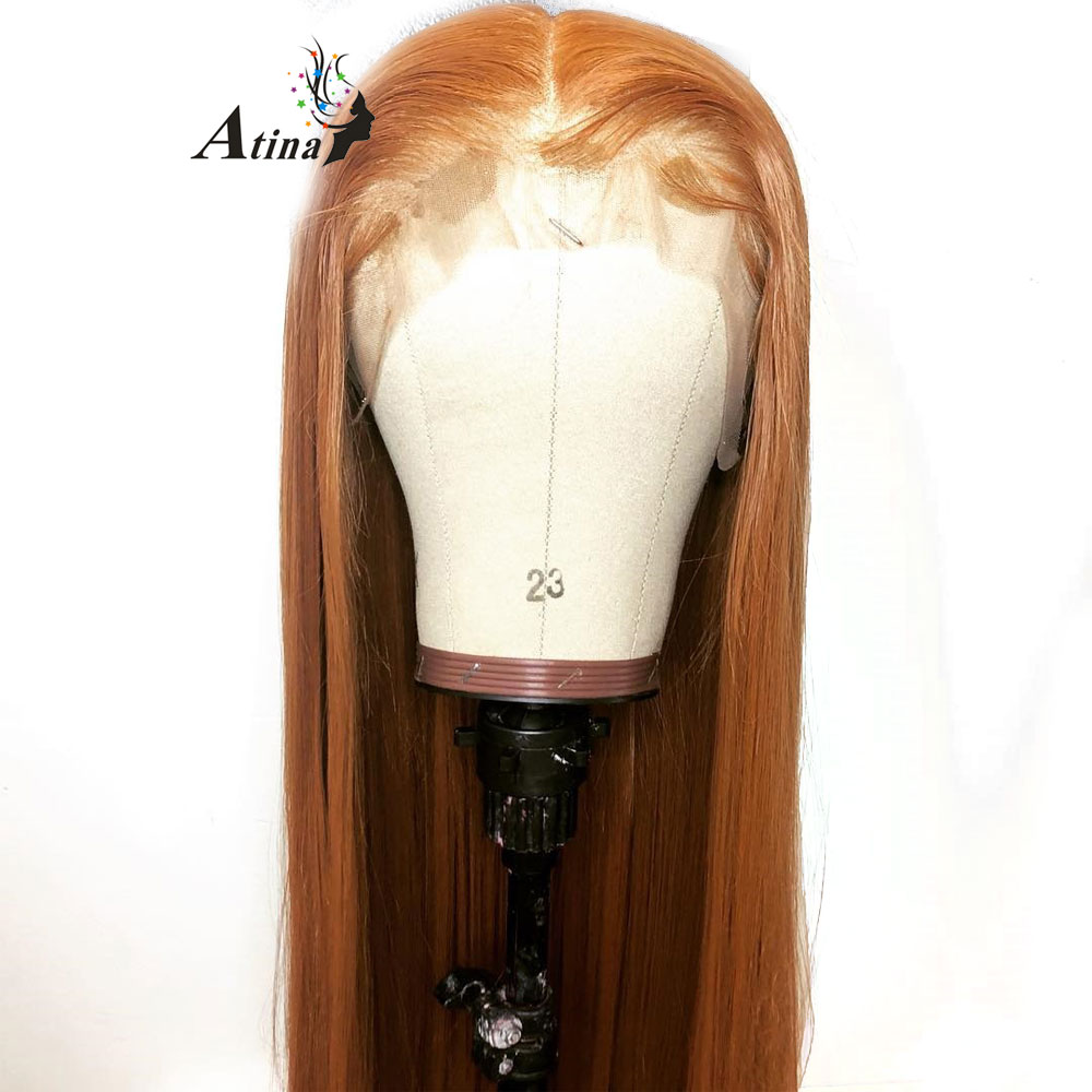13x6 Deep Part Straight Lace Front Orange Human Hair Wigs With Baby Hair Deep Parting Remy Hair Lace Front Wig Pre Plucked Hair