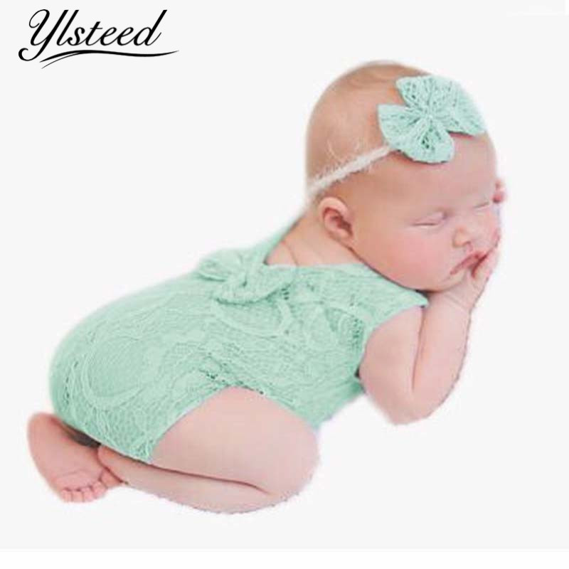 Baby Photography Props Newborn Headband Romper Set Mewborn Lace Bowknot Rompers Infant Outfit Baby Photography Accessories