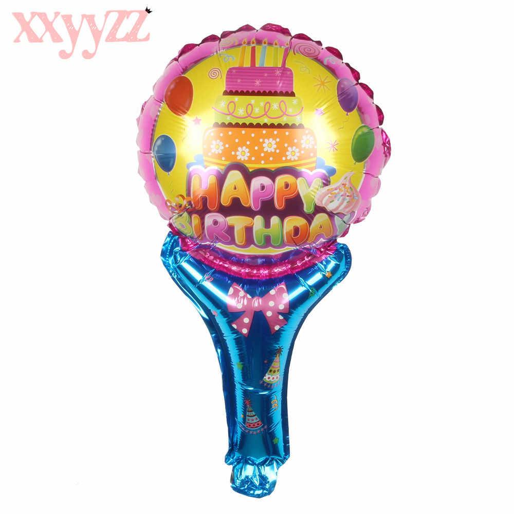 XXYYZZ 2020 yeni karikatür Unicorn el sopa balonlar doğum günü partisi dekorasyon balonu oyuncak toptan at balon Globos