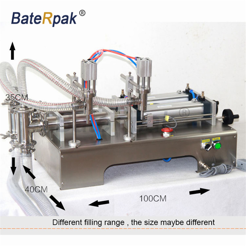 Y2 Stainless steel horizontal pneumatic liquid filling machine,BateRpak double nozzle fruit drink water filler,110V/220V