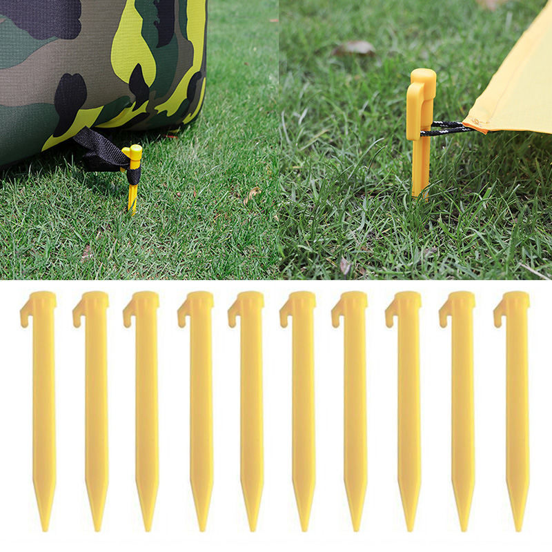 New 10 Pcs Outdoor Travel Camping <font><b>Tents</b></font> Stakes <font><b>Pegs</b></font> Pins Trip Plastic Heavy Duty <font><b>Tent</b></font> Nails Fixing <font><b>Tent</b></font> Mat Stake Nails image