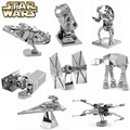 13Pcs/Set Mini Diy Adult Fun Jigsaw 3D Star Wars X Wing TATA Imperial Destroyer Fighter Metal Silver Adult Puzzle Education Toy