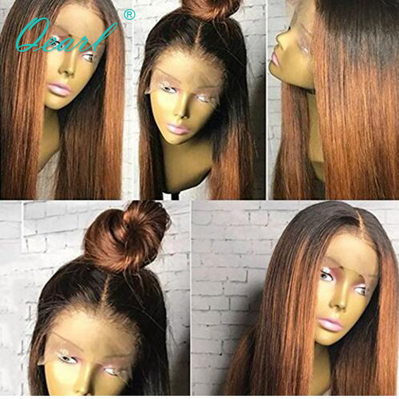 Qearl 1B 30 Ombre Full Lace Human Hair Wigs Full Hand Tied Brazilian Real Remy Straight