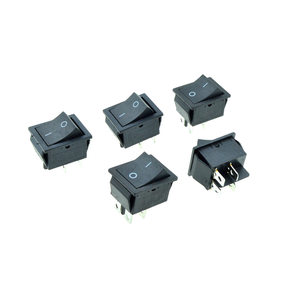 5PCS Black Button Rocker Boat Switch DPST 4 Pins 2 Positions ON/OFF 28x22mm  Panel Mount 20A 125VAC/15A 250V  KCD4 yellow led on off rocker switch w terminal protector set for electric appliances 2 pcs