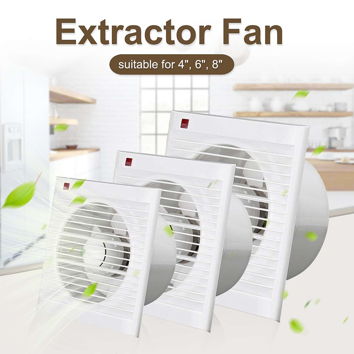 4Inch 6 Inch 8 Inch Waterproof Mute Bathroom Extractor Exhaust Fan Window For Kitchen Toilet Ventilation Fans