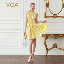 VOA Heavy Silk Midi Dresses Bright Yellow Sweet Striped Dress Summer Women Fringe vestido Large Size Clothes Casual O Neck A870