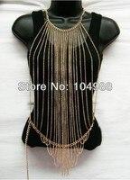 Nowości moda trendy biżuteria panie złoty/srebrny wielu warstw naszyjnik metalowy łańcuch ciała