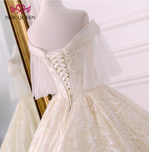 Image 5 - Long Royal Train Vintage Lace Wedding dress 2020 Short Flare Sleeve Pearls Beads Embroidery Ball Gown Wedding dresses WX0121