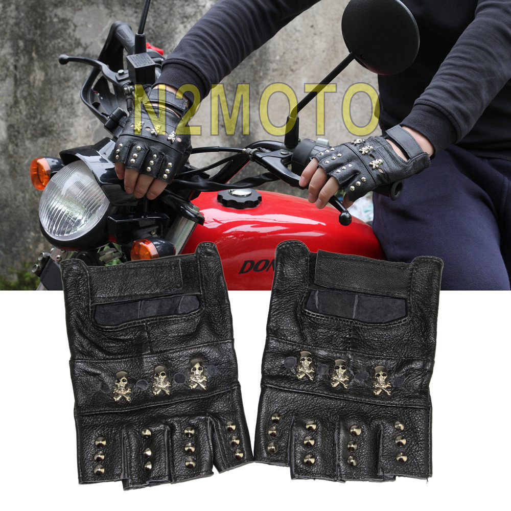 Leather motorcycle skeleton gloves - Men Biker Motorcycles Skull Studded Fingerless Leather Glove Cool Punk Black Gloves China Mainland