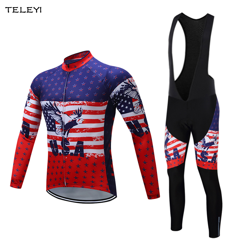TELEYI 2017 Spring/Autumn USA Team Mens Cycling Jersey Sets Long Sleeve Cycle Clothing Set Bicycle GEL Padded Pants Breathable