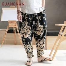 KUANGNAN китайский дракон принт широкие брюки мужские джоггеры Японская уличная одежда джоггеры брюки мужские тренировочные брюки мужские штаны