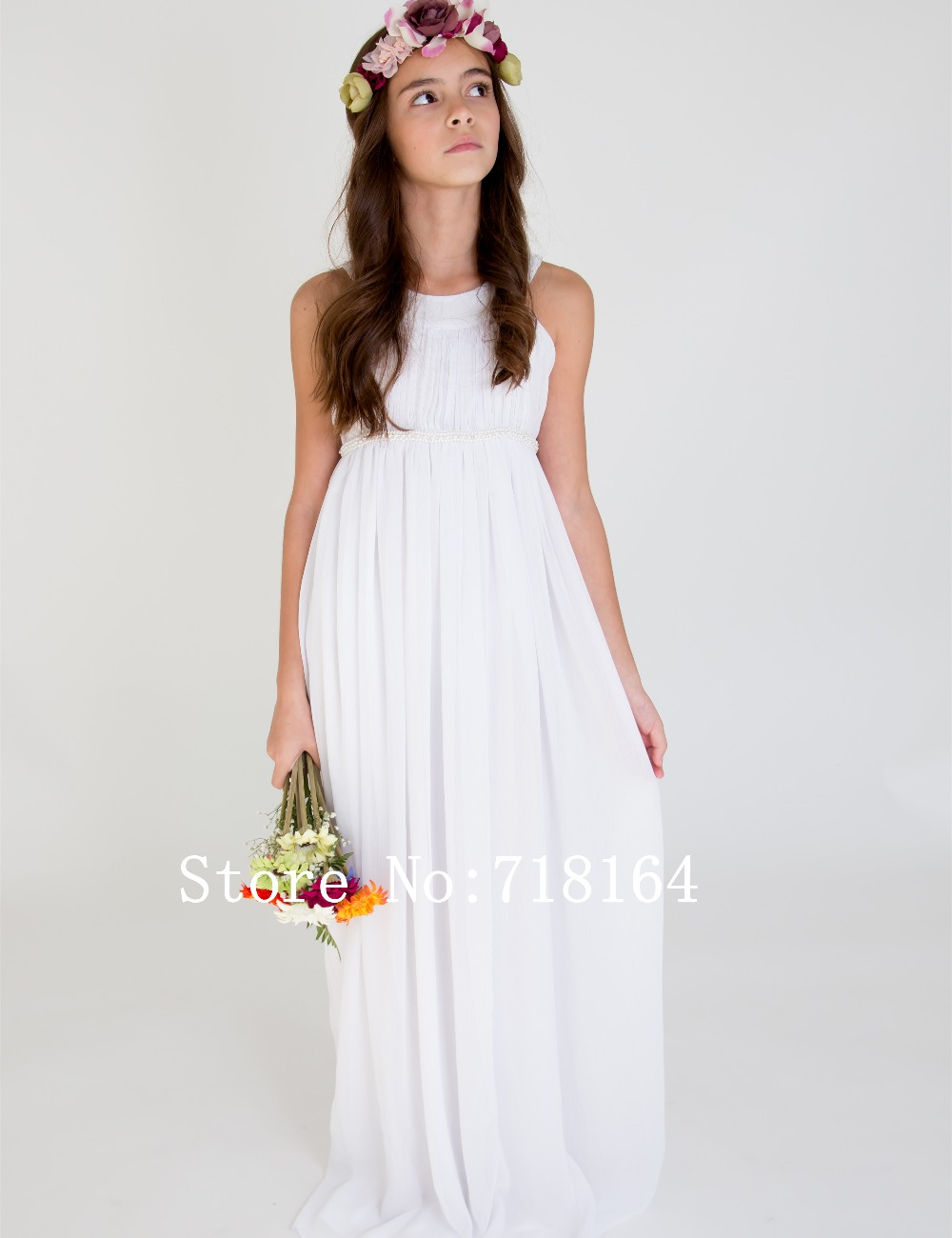 Vintage white ivory chiffon long flower girl dress first communion ...