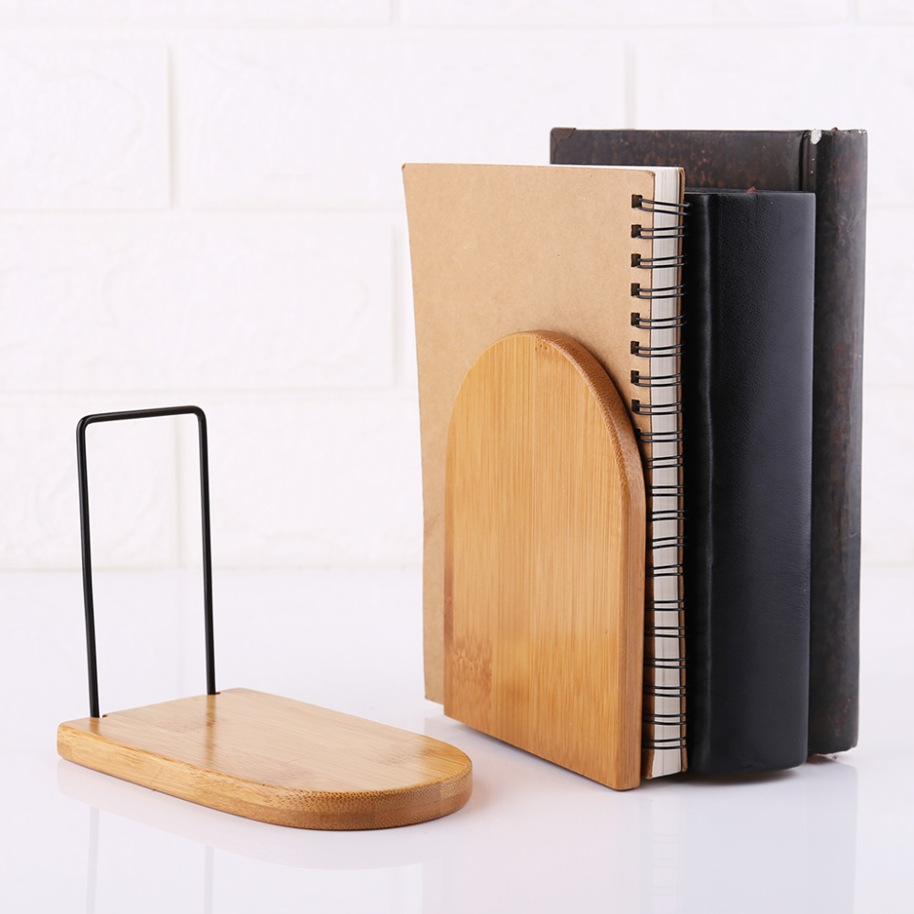 Nature Bamboo Desktop Organizer Office Home Bookends Book Ends Stand Holder Shelf Bookrack