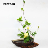Semicircular Crescent Plate Coarse Pottery Flowerpot Hydroponic Flower Planters Vintage Ikebana Tabletop Vase Dessert Fruit Dish