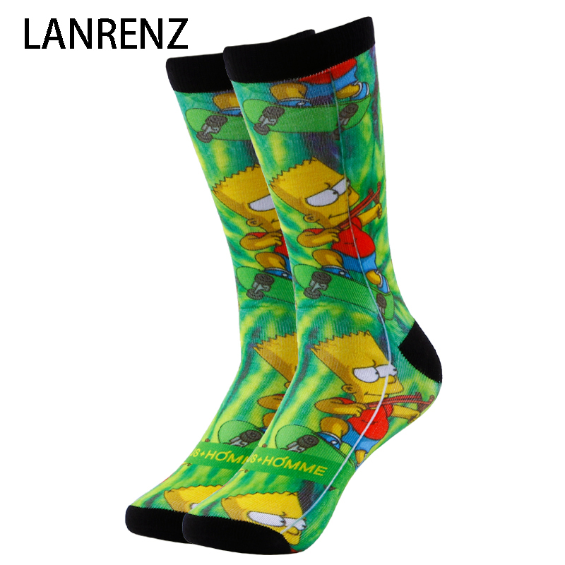 2018 cartoon Simpson printing Men and women fashion Funny socks 3d printed socks 200 knitting oil painting compression socks