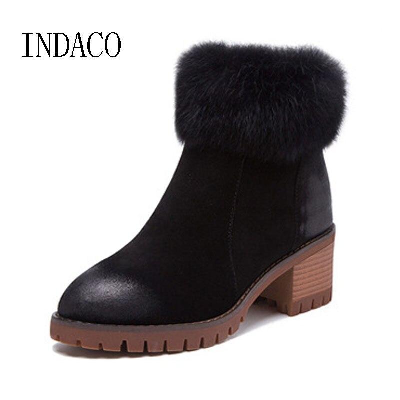 где купить Winter Genuine Leather Warm Ankle Boots Real Fur Chelsea Boots Women's Black Khaki Thick High Heel Bota Feminina INDACO по лучшей цене