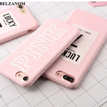For iPhone 7 Lucky Case Pink Color Soft Rubber Cover For iPhone Xs 8 7 6S Plus XS MAX XR Case Silicone For iPhone 6S Cover Cases