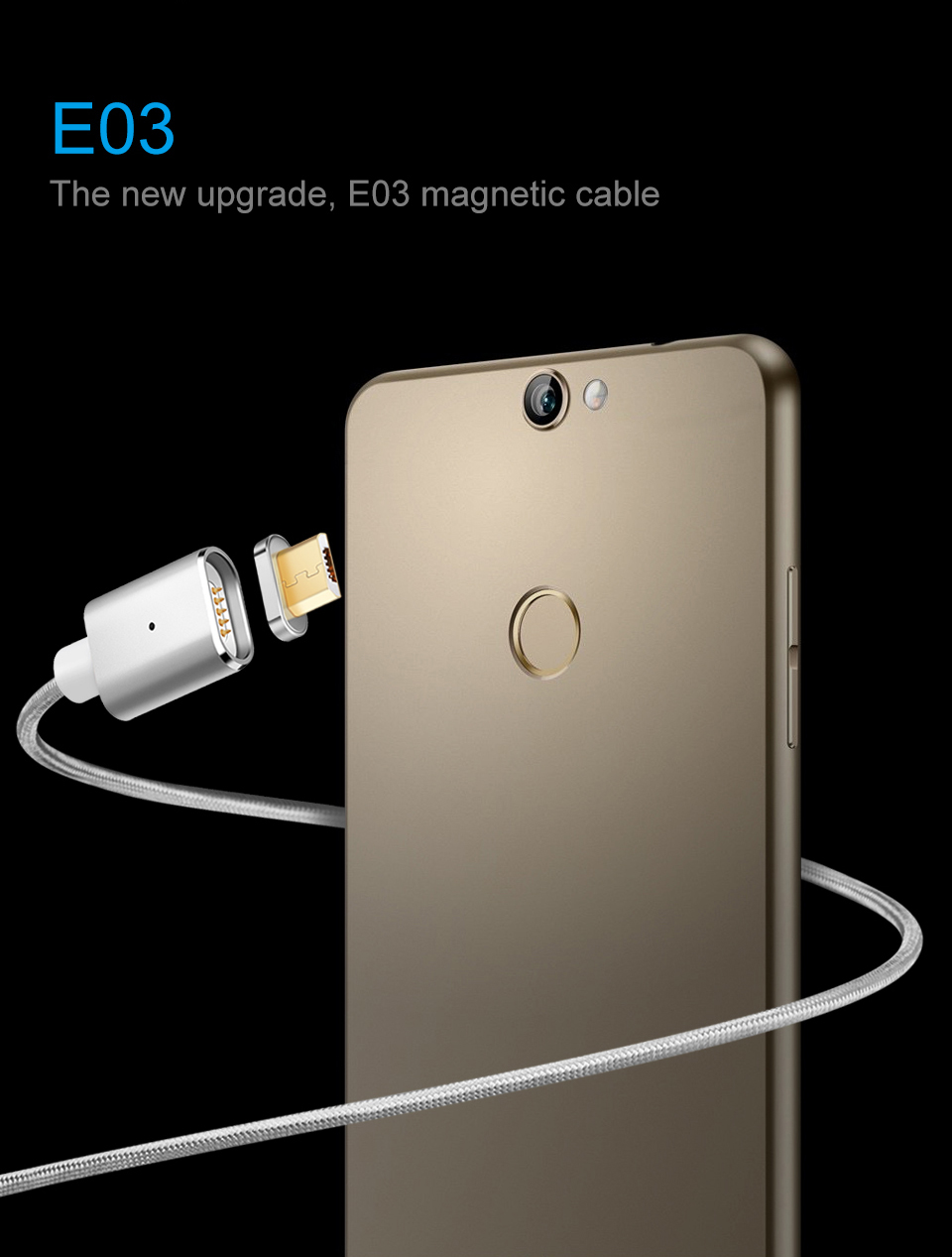 Elough E03 Magnetic Micro USB Cable Charger For Fast Charging And Magnetic Data Cable For Phones 4