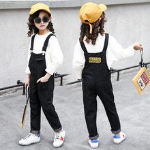 3d11bbd2af7c Fashion Jeans Jumpsuit for Kids Girls Spring Children Denim Overalls  Teenage Cotton Black Pants Baby Girls