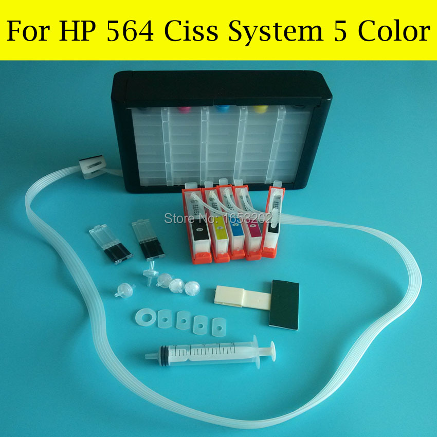 5 COlor Continuous Ink Supply System For HP 564 CIss For HP Photosmart C5380 C8383 C6380 C8383 D5460 D5463 C309G Printer