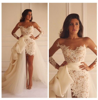 Wedding Dress 2019 Beach Bridal Gown Chiffon Detachable Train Lace Appliques Ivory Romantic Wedding Gown Front Split custom made