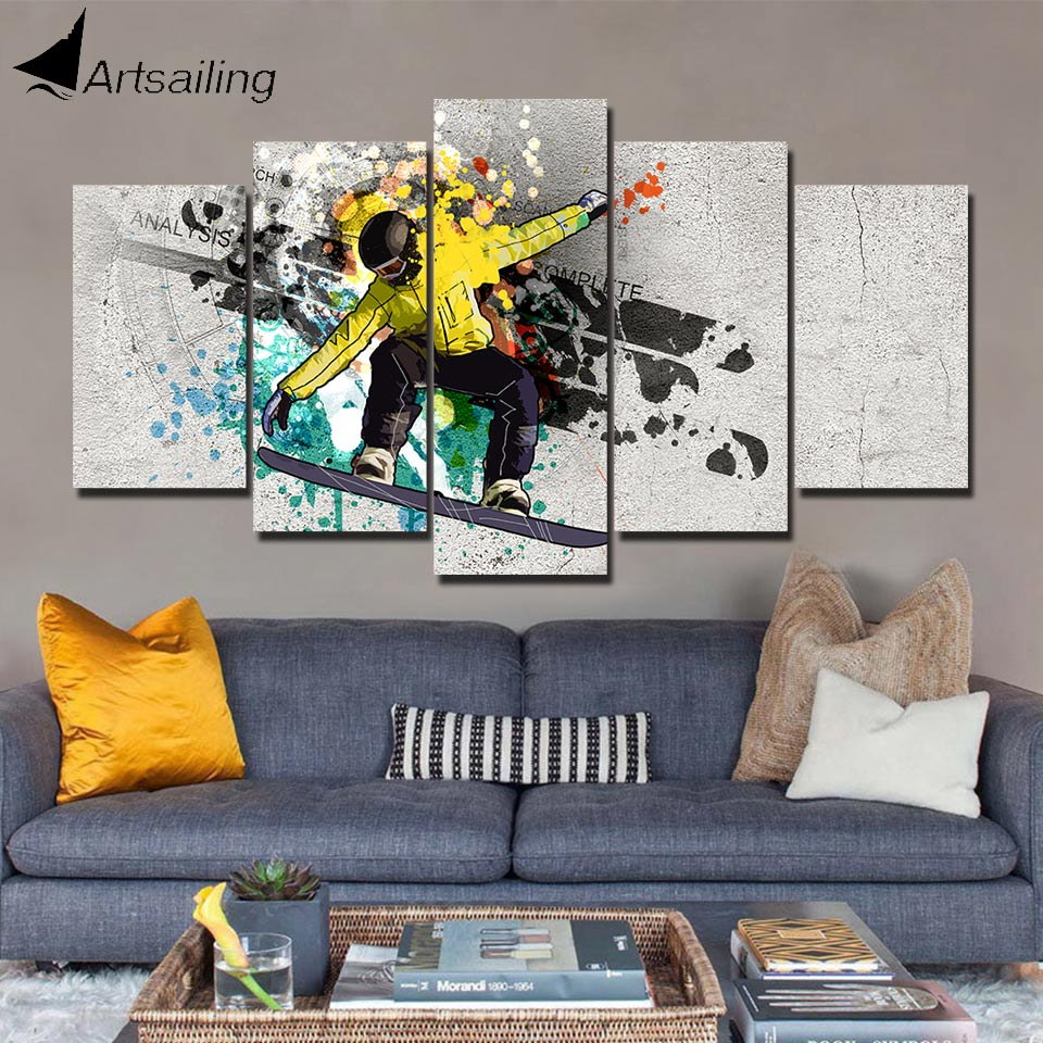 Us 5 99 40 Off Artsailing Hd Print 5 Piece Canvas Art Cool Ski Sports Home Decoration Accessories Wall Picture For Bedroom Poster Pc 8011 In