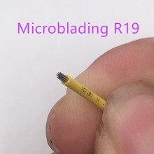 50pcs 눈썹 문신 영구 메이크업 19 베벨 라운드 바늘 Microblading 3D 눈썹 자수 19 안개 라운드 바늘