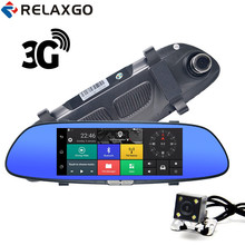 Sale Relaxgo 3G 7″ Android Rearview Mirror DVR Car Camera GPS Navigation Bluetooth Video Recorder Full HD 1080P Dash Cam With 2 Lens