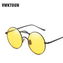 VWKTUUN Vintage lunettes de Soleil Rondes Femmes Hommes Double poutres  Lunettes De Soleil Steampunk Nuances Jaune 0134ca9696fc