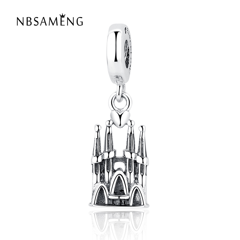 Authentic 925 Sterling Silver Bead Charm Vintage Barcelona Castle Heart Pendant Beads Fit Pandora Bracelet & Bangle DIY Jewelry|fit pandora bracelet|silver beads925 sterling silver beads - AliExpress