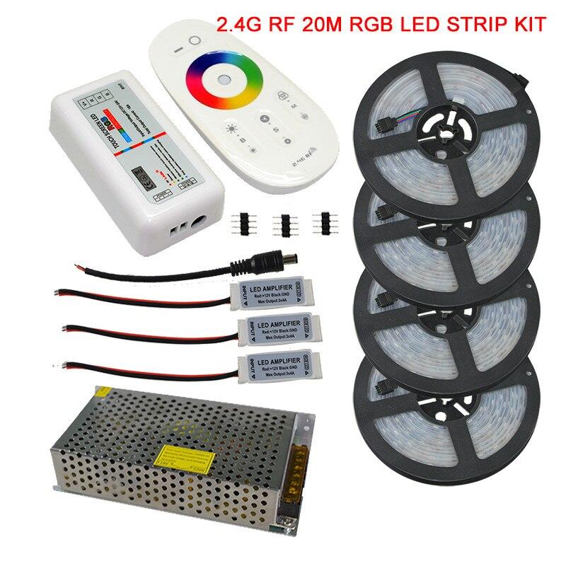 20 M 15 M 10 M 5050 IP67 LED RGB imperméable Kit complet + 2.4G RGB sans fil RF télécommande + AC110V/220 V alimentation