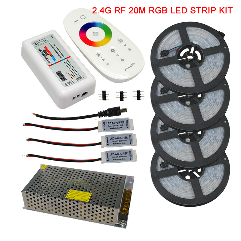 20M 15M 10M 5050 IP67 Waterproof RGB LED Strip Full Kit + 2.4G RGB Wireless RF Remote Controller + AC110V/220V Power Supply